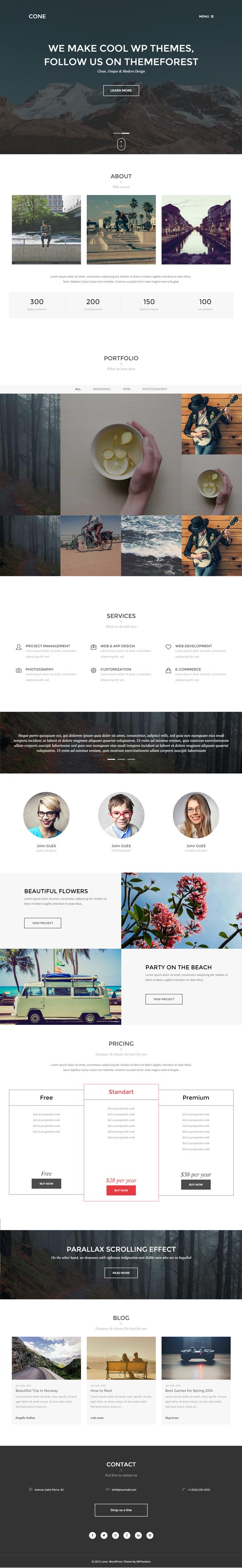 Cone – Onepage WordPress Theme