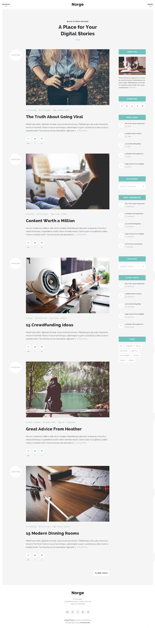Norge – Responsive Blog WordPress Theme
