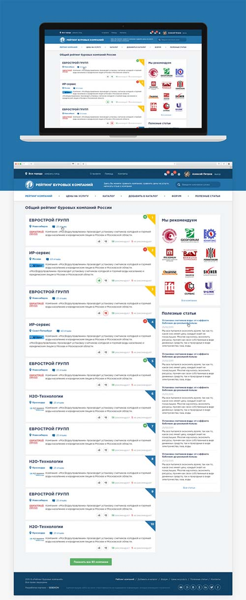 Responsive Web Design for Drilling Companies Rating