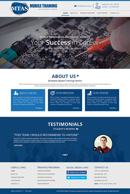 Website For Mobile Training and Assessment Services