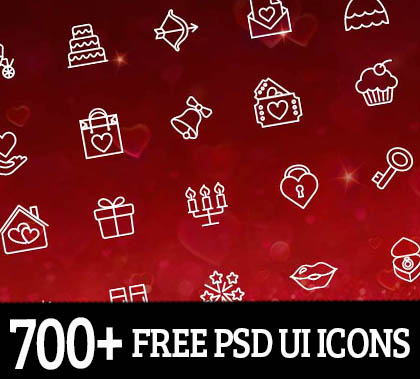 700+ Free PSD UI Icons for Web Mockup UI Design