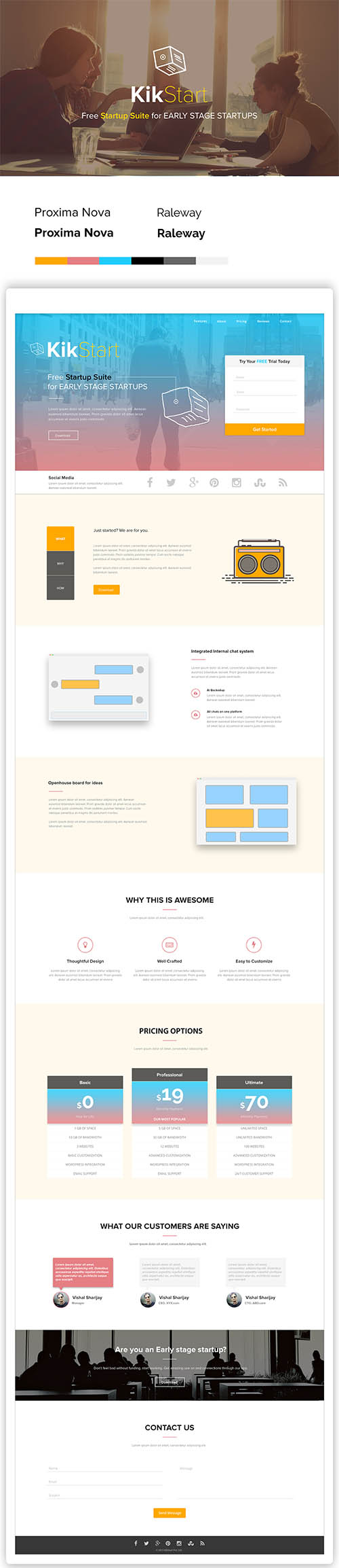 Landing Page website of an Startup suite - KikStart By Vishal Sharijay