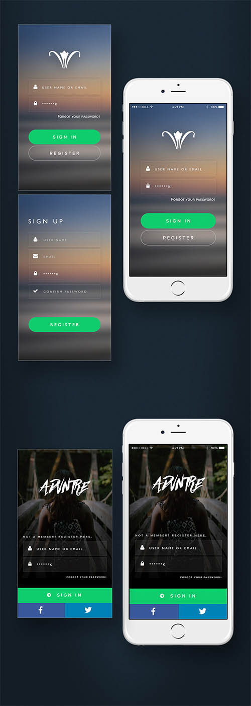 Mobile Log-in Designs By Perci Mansueto