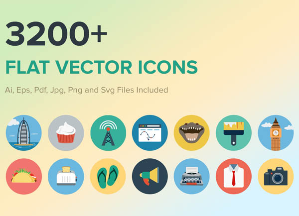 3200+ Flat Vector PSD Icons For Graphic Designers