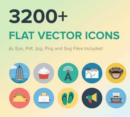Post thumbnail of 3200+ Flat Vector PSD Icons For Graphic Designers