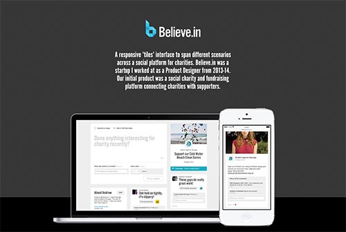 Believe.in charity platform By Andrew Couldwell