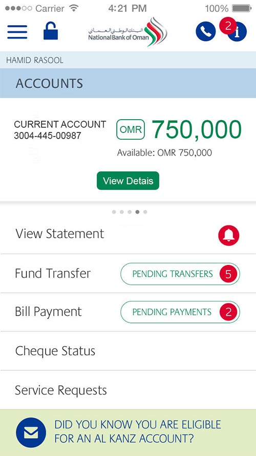 National Bank of Oman-Mobile App UI UX Designs By Desingu rajan