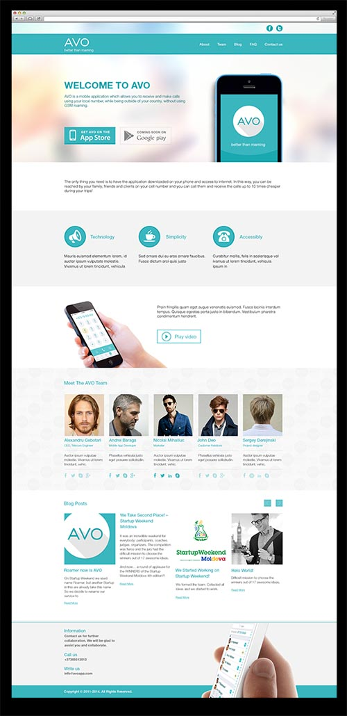 AVOapp. Landing page for mobile application By Sergey Derejinskii