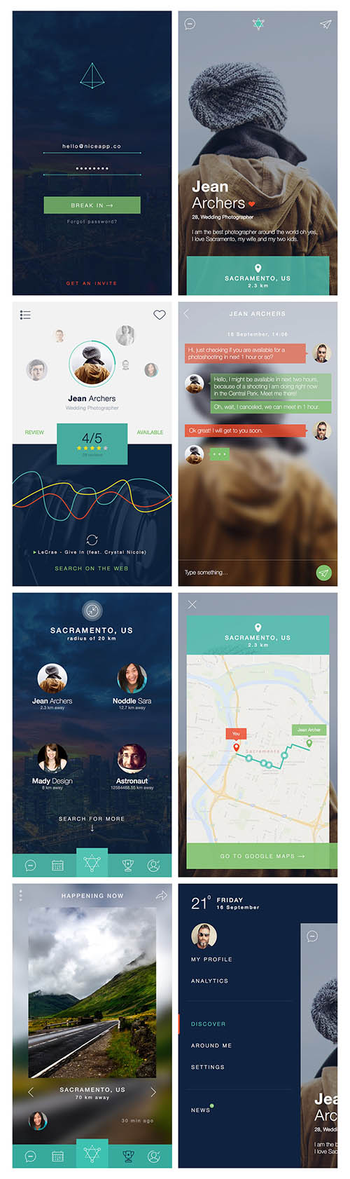 Nerdial App UI – 8 screens FREE PSD By 72px designs