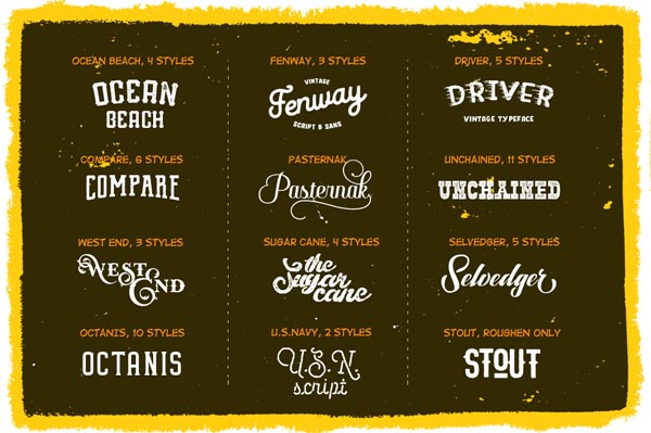 55 Fonts, Vectors and Badges Bundle for Designers - 3