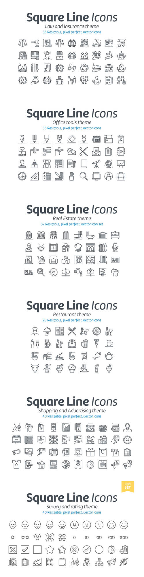 800+ Vector Line Icons for Graphics, Web and UI Design - 1