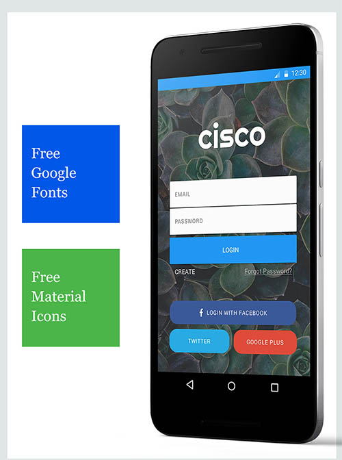 Cisco - Material App UI - Free PSD Sample By Amrit Shahi
