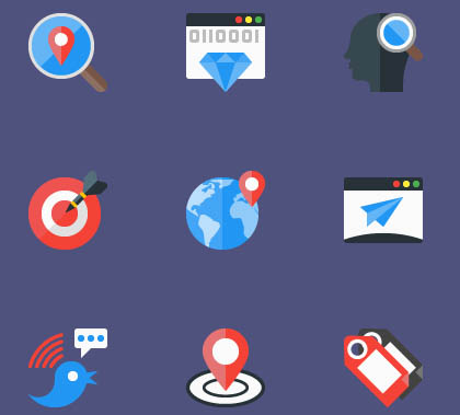 12 SEO Flat Icons – free Download