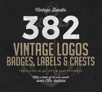 Post thumbnail of 350 Vintage Logos, Badges and Labels Set