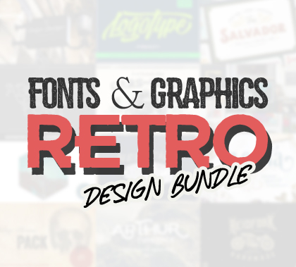 New Retro Fonts and Graphic Bundle – 62 Fonts & 1000+ Graphic Elements
