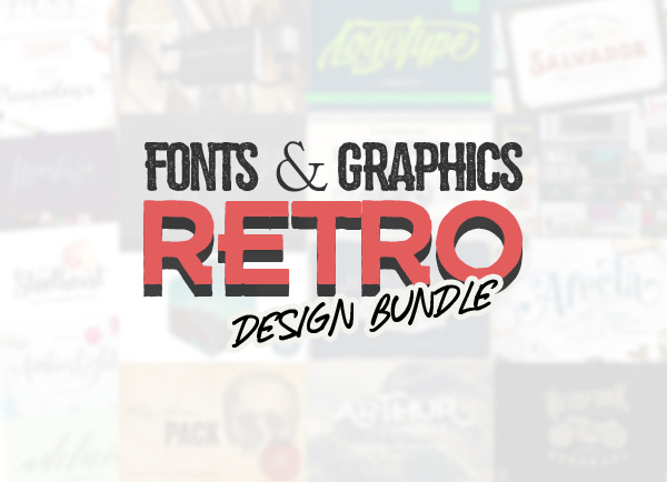 New Retro Fonts and Graphic Bundle - 62 Fonts & 1000+ Graphic Elements