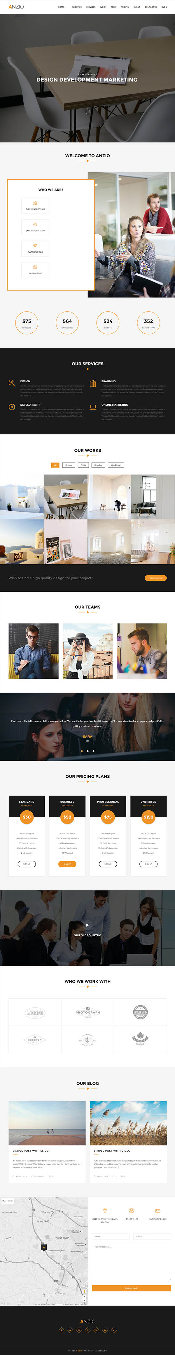 ANZIO – Onepage Parallax WordPress Theme