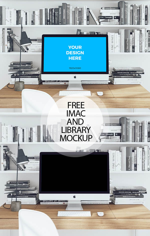 Free iMac on Wooden Ttable and Library with Books