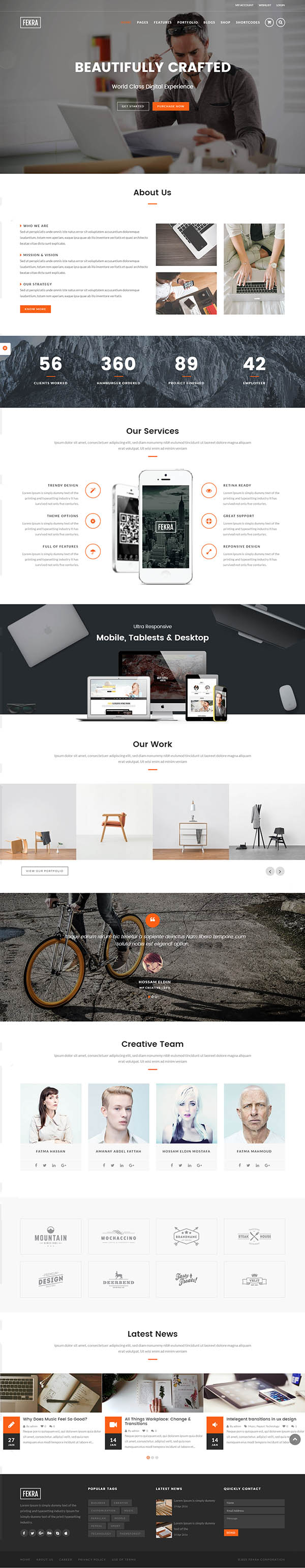 Fekra : Responsive Multi Page/One Page WordPress Theme