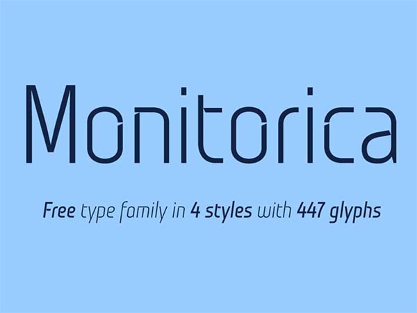 The FREE Monitorica Font with 4 Styles & 477 Glyphs