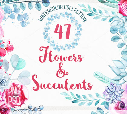 Post thumbnail of 700+ Watercolor Floral Elements for Graphic Designers