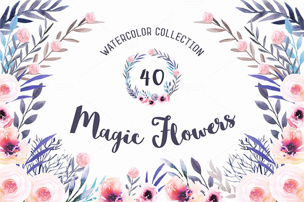 Watercolor Floral Elements for Graphic Designers - 2