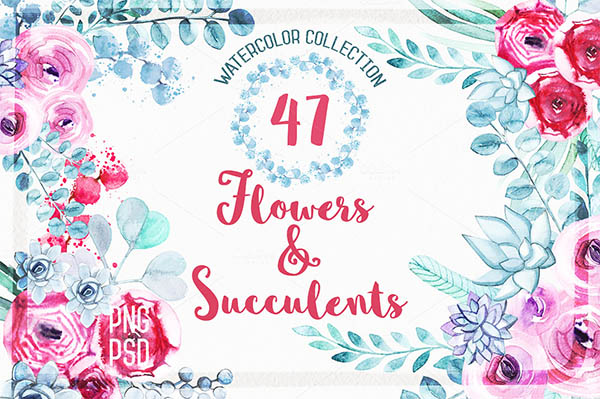 Watercolor Floral Elements for Graphic Designers - 3