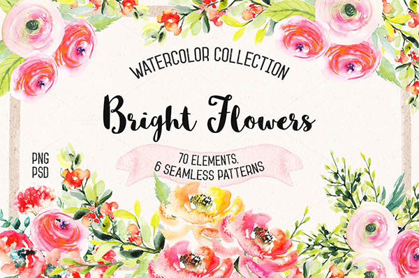 Watercolor Floral Elements for Graphic Designers - 4