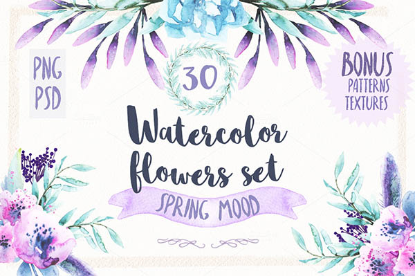 Watercolor Floral Elements for Graphic Designers - 10
