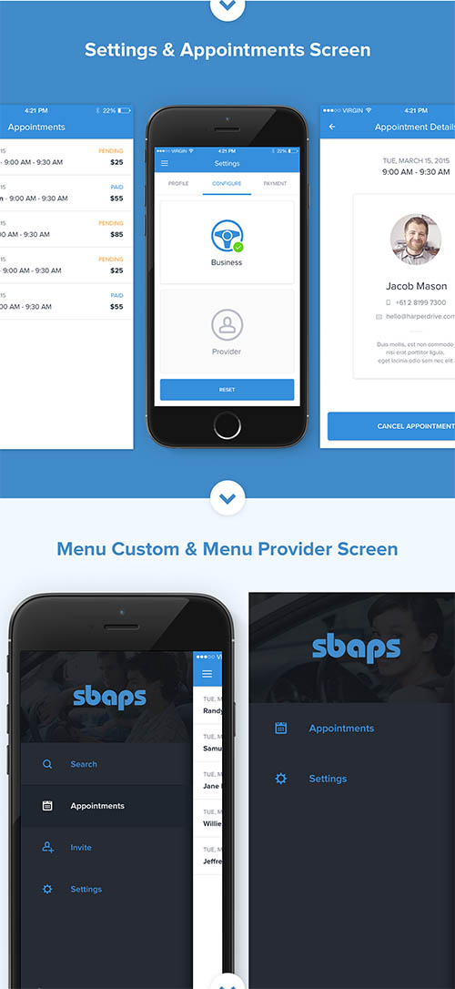 SBAPS - Business Bookings App (Mobile) By ceffectz Designs