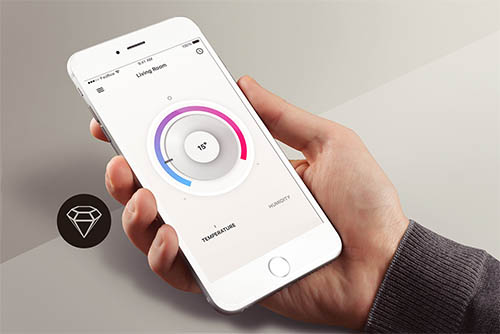 Thermostat App - Day66 UI/UX Free Sketch App Challenge By Serhiy Semenov