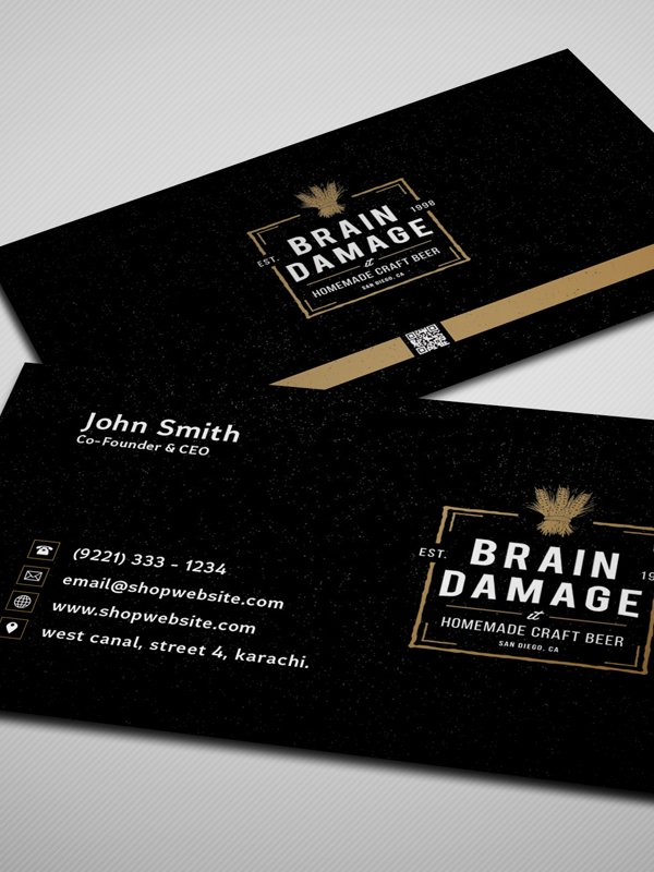 Free Corporate Black Business Card PSD Template