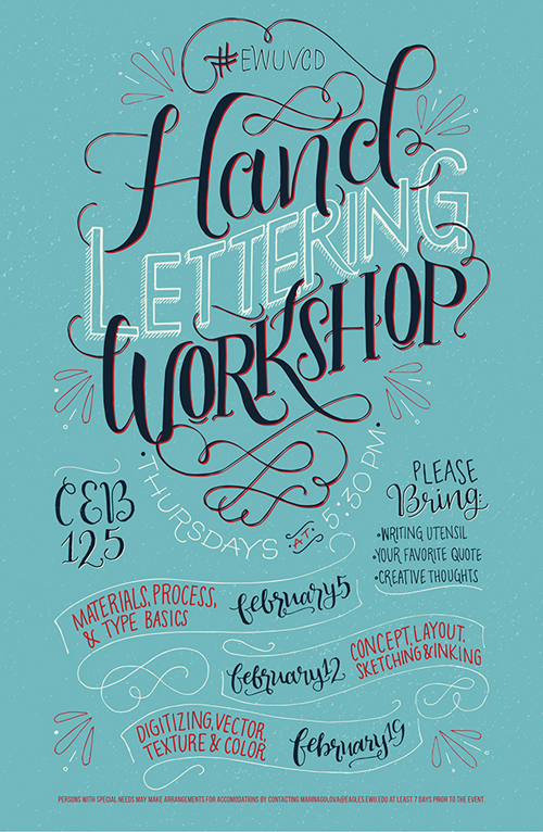 Hand Lettering Workshop Poster by Marina Gulova