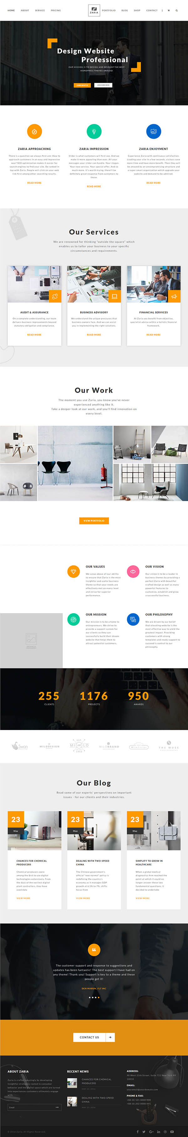 Zaria – A Beautiful & Smart Business WordPress Theme