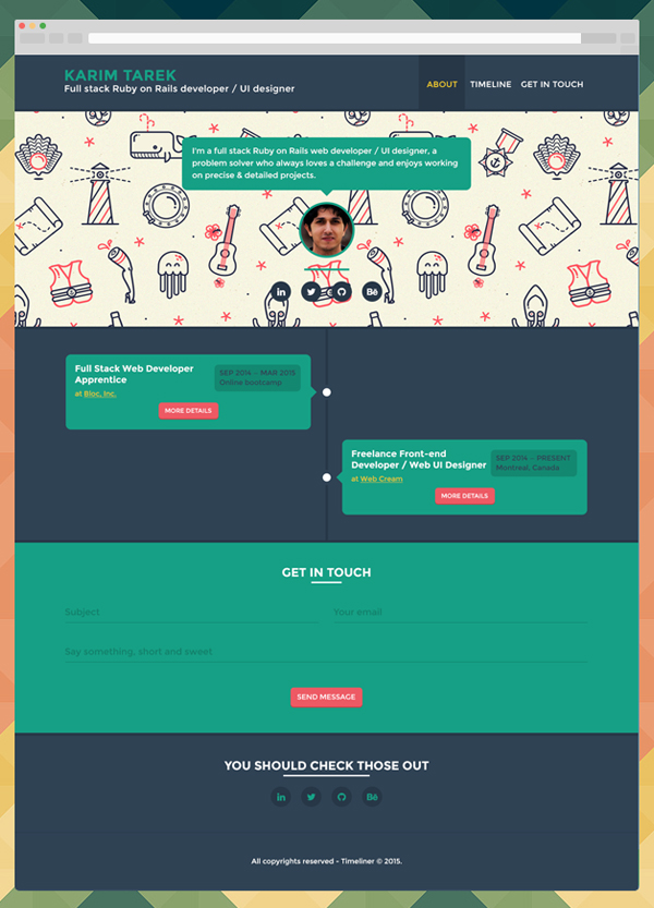 Free Timeliner – User profile PSD Template