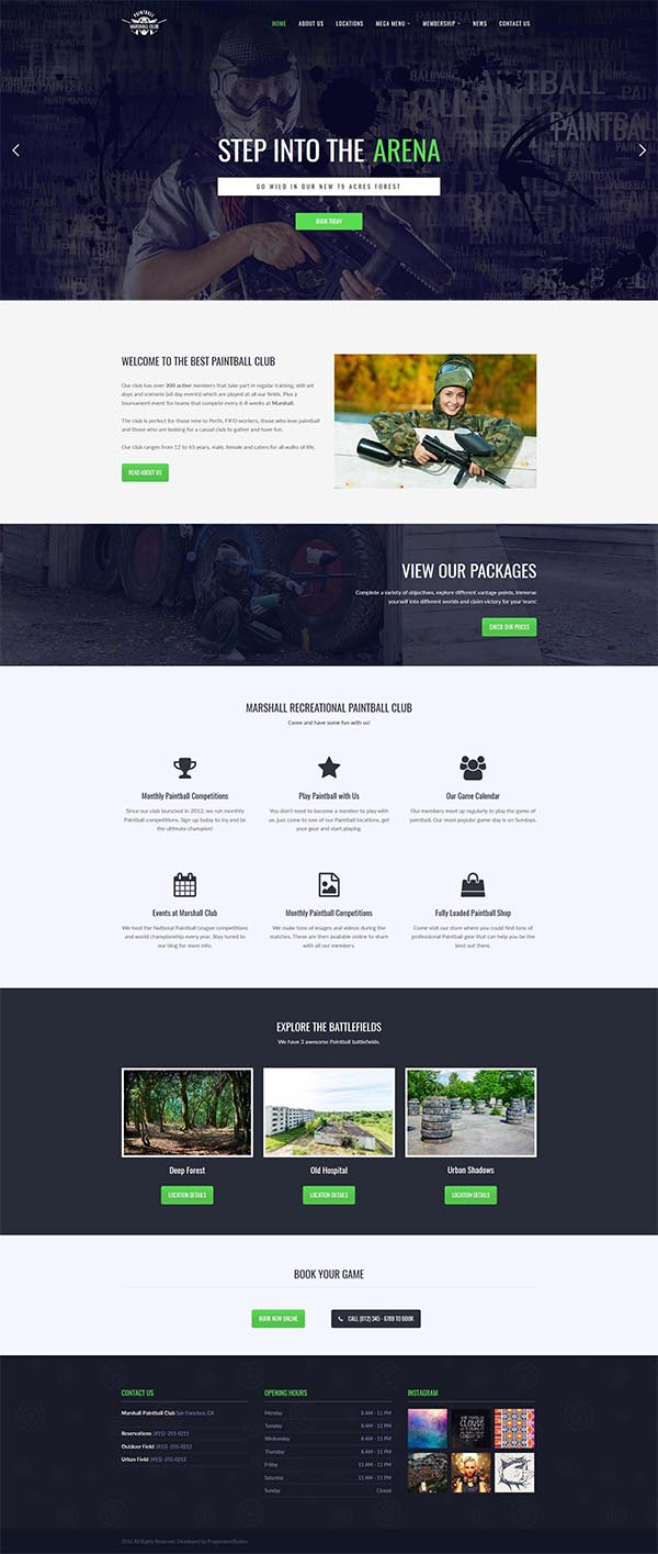Marshall – Paintball Club WordPress Theme