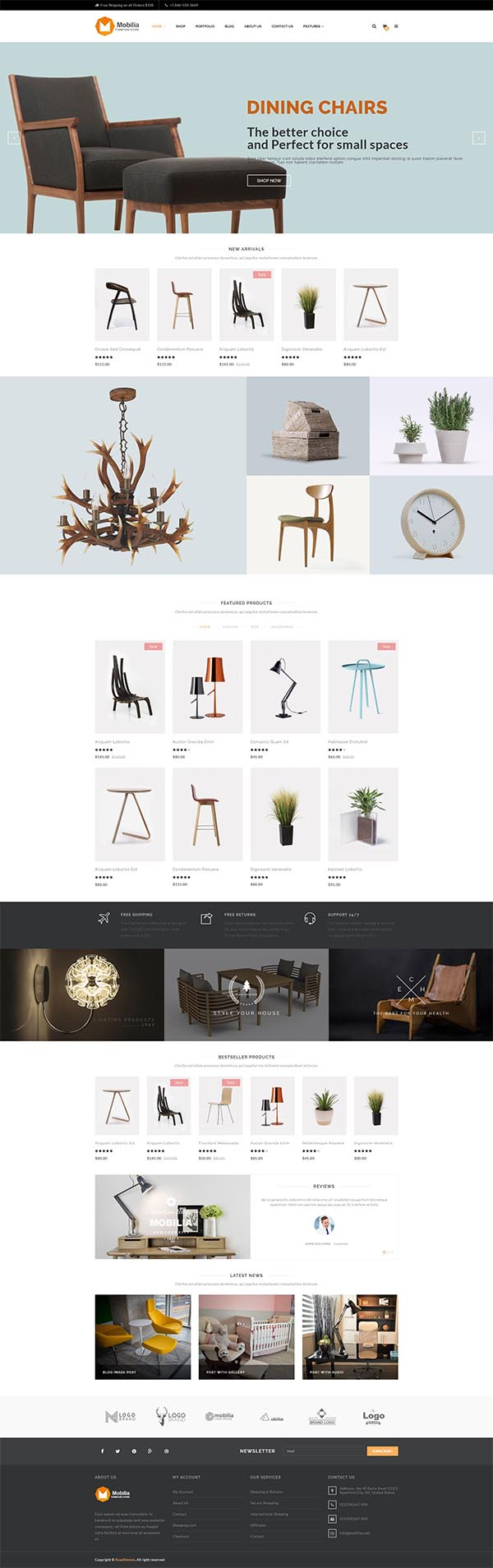 mobilia furniture woocommerce wordpress theme design blog