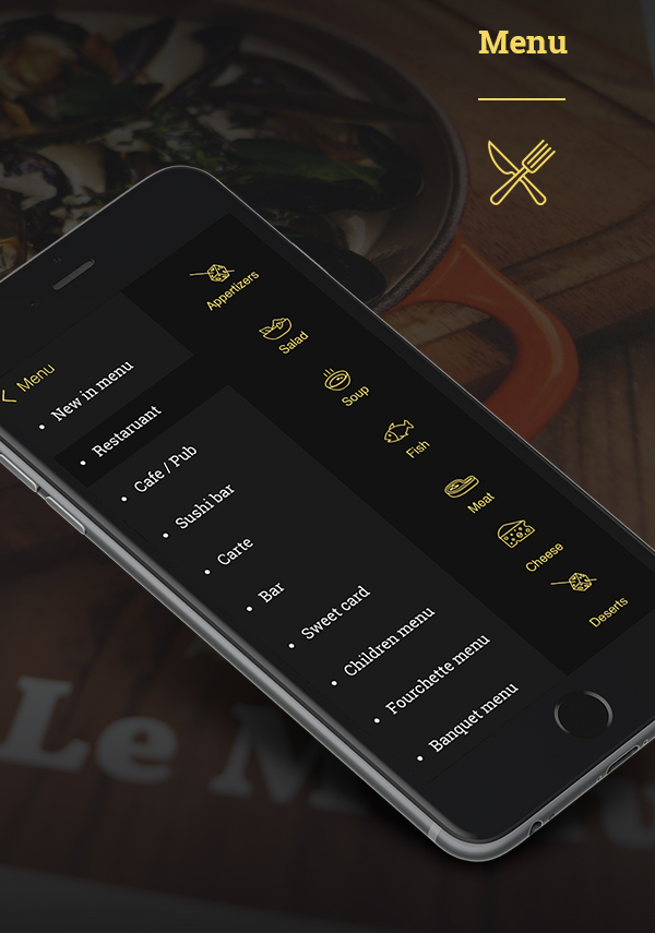 Free Restaurant Mobile App PSD Template