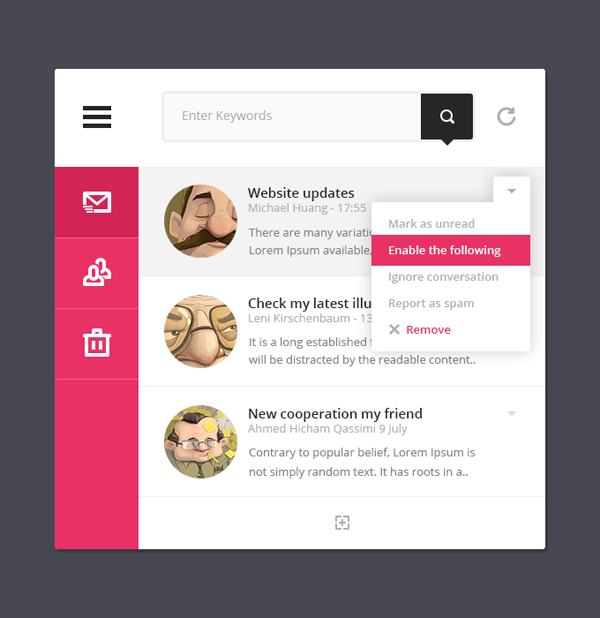 Mini Mail Interface – Free PSD