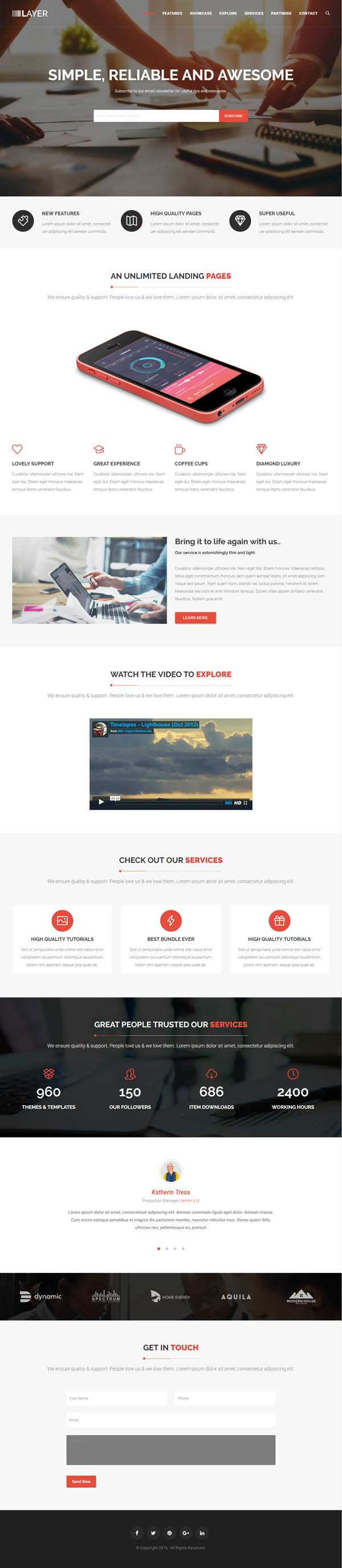 Layer – Simple One Page WordPress Themes