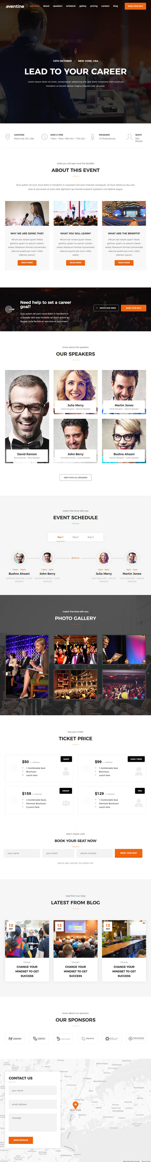 Eventine – Conference and Event OnePage WordPress Theme