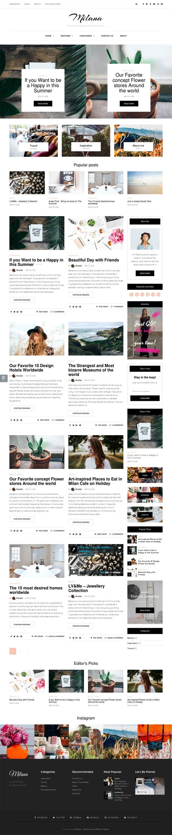 Milana : Personal & Magazine WordPress Responsive Fast Blog Theme