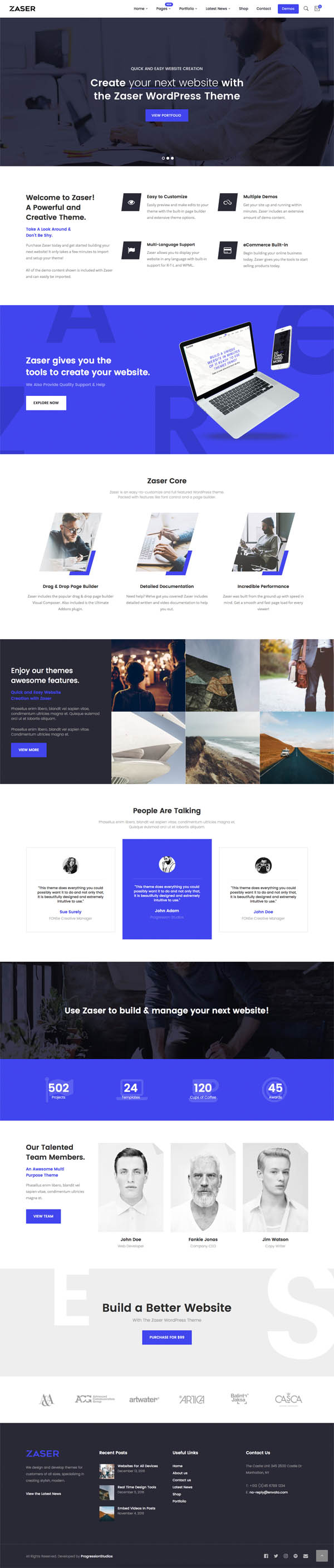 Zaser Pro : All-in-one WordPress Theme