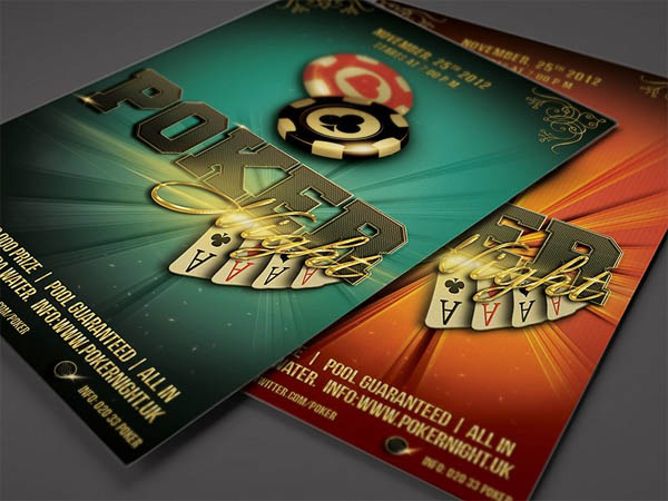 Poker Night Flyer Template 4 x 6