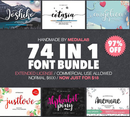 74 IN 1 FONT BUNDLE – 97% OFF