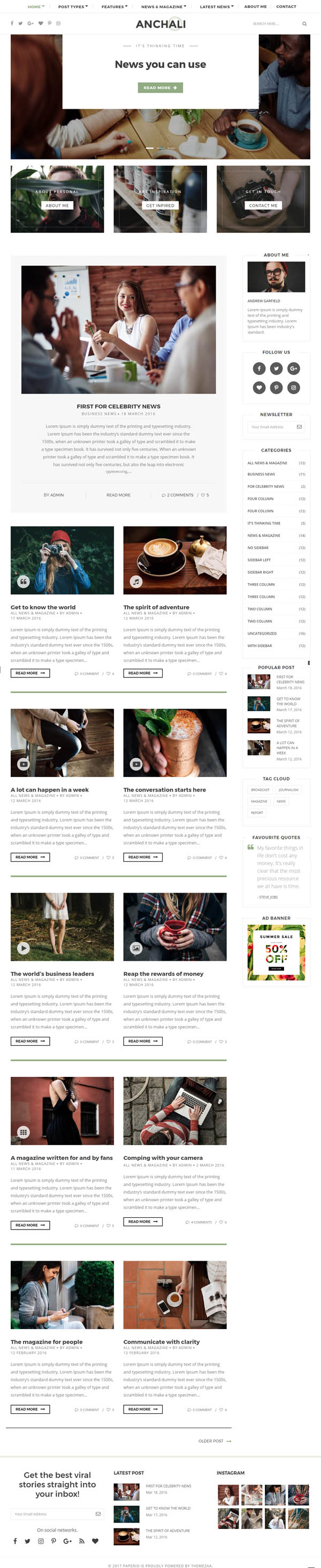 Paperio : Responsive and Multipurpose WordPress Blog Theme