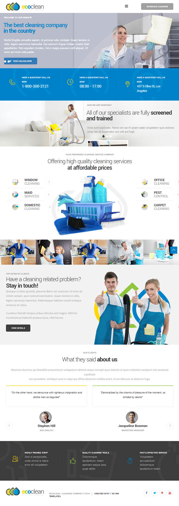 EcoClean : Cleaning company WordPress Theme