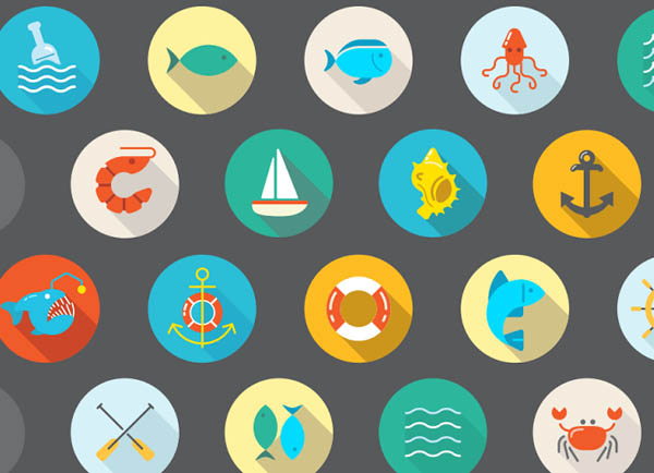 Awesome 22 Flat Vector Sea Icons - Free Download