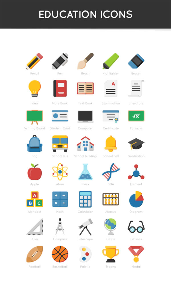 Free 40 Education Icons