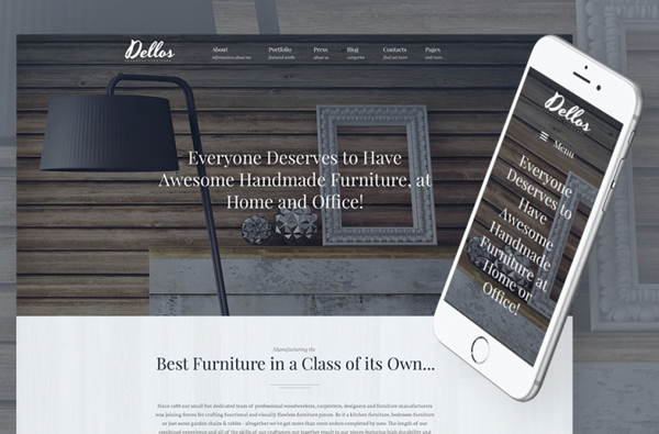 Dellos - Handmade Furniture & Interior Responsive WordPress Theme